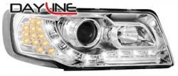 Передние светодиодные фары Ауди 100 (Audi 100) 90-94, хром