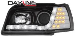 Передние светодиодные фары Рено Клио (Renault Clio) 90-97, черный