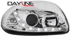 Передние светодиодные фары Рено Клио (Renault Clio) 98-00, хром