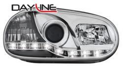 Передние светодиодные фары Фольцваген Гольф 4 (VW Golf 4) , хром