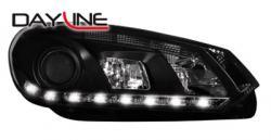 Передние светодиодные фары Фольцваген Гольф 6 (VW Golf 6) 08+, черный