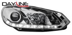 Передние светодиодные фары Фольцваген Гольф 6 (VW Golf 6) 08+, хром
