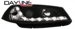 Передние светодиодные фары Рено Меган (Renault Megane) 03-06, черный