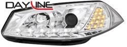 Передние светодиодные фары Рено Меган (Renault Megane) 03-06, хром