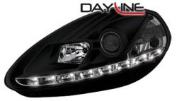Передние светодиодные фары Фиат Пунто (Fiat Punto) 05-08, черный