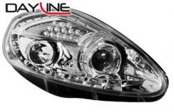 Передние светодиодные фары Фиат Пунто (Fiat Punto) 05-08, хром