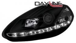 Передние светодиодные фары Фиат Пунто (Fiat Punto) с 09, черный