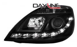 Передние светодиодные фары Форд Фиеста (Ford Fiesta) 02-05, черные v2