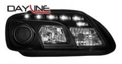 Передние светодиодные фары Фольцваген Тоуран (VW Touran) 03-06, черный