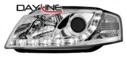 Передние светодиодные фары Ауди А3 (Audi A3) 03-09, хром
