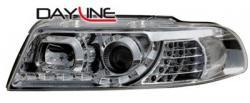 Передние светодиодные фары Ауди А4 (Audi A4) 99-01, хром