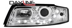 Передние светодиодные фары Ауди А4 (Audi A4) 01-04, хром