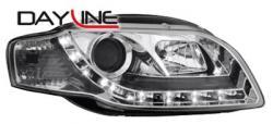 Передние светодиодные фары Ауди А4 (Audi A4) 04-08, хром