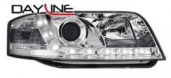 Передние светодиодные фары Ауди А6 (Audi A6) 01-03, хром
