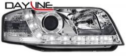 Передние светодиодные фары Ауди А6 (Audi A6) 97-01, хром
